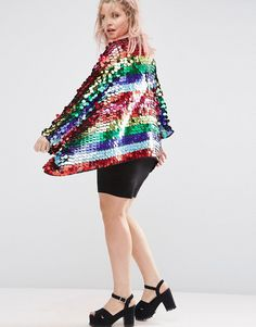 Rainbow sequin kimon