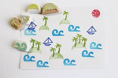 summer island rubber stamp set. hawaii rubber stamp. hand carved rubber stamp. palm tree/boat stamp/island stamps/wave stamp. set of 5. on Etsy, $15.32 AUD