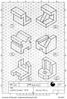ผลการค้นหารูปภาพสำหรับ isometric drawing exercises with answers Isometric Sketch, Isometric Grid, Isometric Design, Autocad Isometric Drawing, Orthographic Projection, Orthographic Drawing, Isometric Drawing Exercises, Interesting Drawings, Drawing Activities