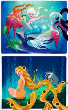 Anna & Elsa as mermaids and Rapunzel as Pocahontas | Dylan Bonner's Art