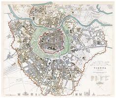 Old Map of Vienna Wien with gravures, Austria 1833 Vintage