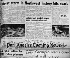 columbus day storm - Google SearchOn Oct. 12, 1962, an unusual mix of weather conditions boiled over into a hurricane-force blast that many weather experts say is the most significant windstorm ever recorded in the Portland area.  It did millions of dollars in damage and killed more than 40 people. Bad Storms, Millions Of Dollars, Port Angeles, Columbus Day, Random Thoughts, Weather Conditions, Portland, Random Stuff, Google