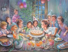 """From the book """"Martine fête son anniversaire"""" (Martine Celebrates her Birthday),"""" illustrated by Marcel Marlier (1930 - , Belgian)"""