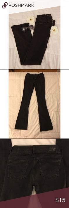 High Waisted Flared Black Jeans These have been worn a few times but there are no stains or rips. I am 5'3 and the waist does fit me, however the pants are a little long on me. Feel free to ask questions!! American Eagle Outfitters Jeans Flare & Wide Leg