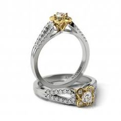 Inel de logodna din aur alb si galben cu diamante Grigor