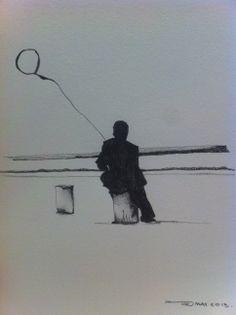 Mujer con globo.  Autor:Max Albarran Serie: Mujeres en la orilla del mar Grafito /papel. 2013 22 x 22 cm. Detalle