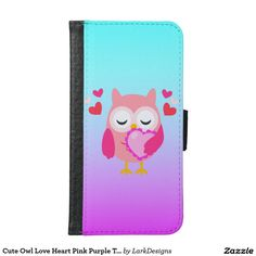 Cute Owl Love Heart Pink Purple Turquoise Ombre Samsung Galaxy S6 Wallet Case
