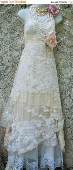 Cyber week sale Beaded lace dress wedding ivory by vintageopulence