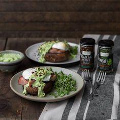 Portobello Eggs Benedict with Avocado Sauce | Frontier Co-op