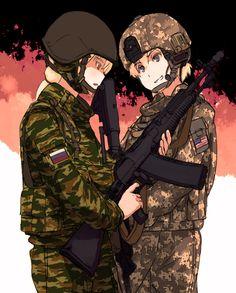 2girls american_flag an-94 assault_rifle blonde_hair camouflage gun helmet holding holding_gun holding_weapon m4_carbine military military_uniform multiple_girls open_mouth original rifle russian_flag shibafu_(glock23) short_hair uniform violet_eyes weapon