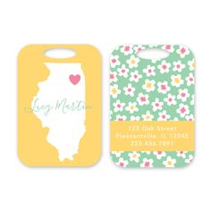 State Silhouette Personalized Luggage Tag by Peony Hill Press. These make great gifts for grads, dads, moms, newlyweds and more! #peonyhillpress #php #luggage #luggagetag #baggage #baggagetag #gift #newlywed #kid #grad #state #silhouette #flower #heart
