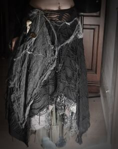 Swamp witch Halloween costume, improvised with my own wardrobe and fake spider web :P For makeup shots go here