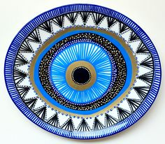 Evil Eye Decor - Decorative Plate - Blue Evil Eye  - Golden Evil Eye - Evil Eye Wall Art - Spiral Wall Decor - Bohemian - Decorative Mandala by biancafreitas on Etsy