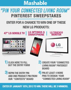 Mashable's Pinterest Contest: Pin the Connected Living Room of Your Dreams and Win