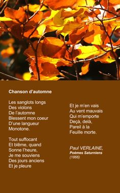 VERLAINE, Chanson d'automne | À la française …