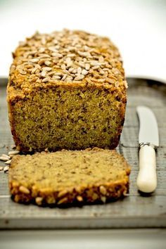 gluten free Quinoa + Chia Bread - the healthy chef - can be used for pizza (pumpkin, sundried tomatos, ricotta )
