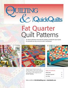 Free ebook -- Fat Quarter Quilting Patterns from McCall's Quilting Hand Quilting Patterns, Jelly Roll Quilt Patterns, Machine Quilting Designs, Free Motion Quilting, Quilting Tutorials, Mccall's Quilting, Mccalls Patterns, Quilting Projects, Diy Projects