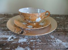 Peach Lusterware Dessert Plate and Tea Cup by VintageShoppingSpree, $26.00