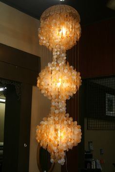 3 Tier Capiz Shell Chandelier by RDMooreandAssociates on Etsy