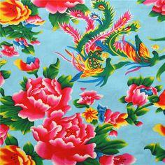Tissus traditionnel Chinois bleu claire 3m : Tissus Habillement, Déco par tissus-pivoine-anse-mercerie