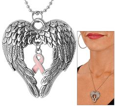 Wings of an Angel Pink Ribbon Necklace