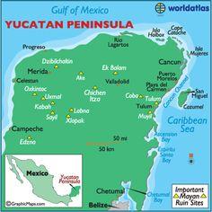 Yucatan Peninsula (Costa Maya not shown, but it's under Muyil)