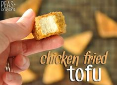 BAKED! Chicken Fried Tofu: these meatless nuggets taste fried but are baked to cripsy golden perfection! Skip sketchy store bought vegetarian nuggets + make