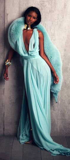 Turquoise | Alexandre Vauthier gown
