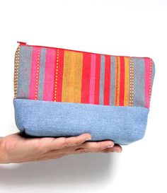 Colorful Retro Recycled Jeans Cosmetic Bag Cotton by hennyseashell, $18.50