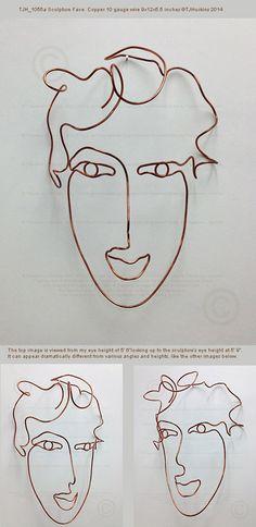 Visage de femme fil mural art sculpture 9