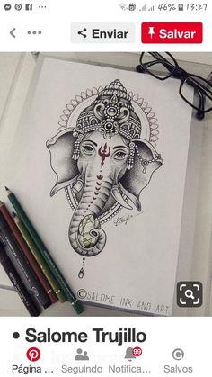 Ganesha Tattoos, Ganesha Tattoo Mandala, Buddha Tattoos, Ganesha Tattoo Thigh, Ganesha Tattoo Sleeve, Ganesha Sketch, Ganesha Drawing, Ganesha Art, Ganesha Painting