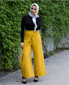 37296fc8a83b Verona Collection High-Waist Wrap Modest Pants - Yellow XS