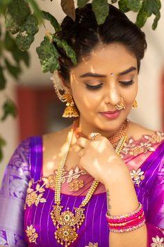 Beautiful Saree, Beautiful Indian Actress, Beauty Full Girl, Beauty Women, Women's Beauty, Half Saree Function, Half Saree Designs, Indian Bridal Fashion, Bride Portrait