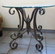 Dining or  End Table Hand-Forged Iron Base Custom Finish Round Beveled Glass