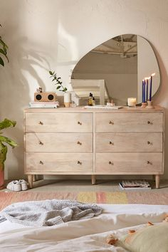 The modern dresser as a stylish idea for more storage space at home - Decoration Top Room Ideas Bedroom, Home Decor Bedroom, Wood Room Ideas, Ikea Bedroom Design, Bedroom Dressers, Bedroom Mirrors, Master Bedroom, Dream Bedroom, Aesthetic Room Decor