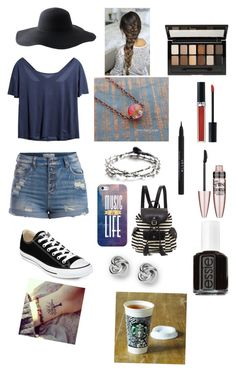 """""""Tag read description"""" by kat235 ❤ liked on Polyvore featuring Pieces, BijouxBar by Vivien Frank, Converse, Peter Grimm, Casetify, FOSSIL, Poverty Flats, Essie, Maybelline and Christian Dior"""