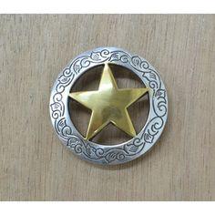 Dies ist für ein 1 einzelne Concho.  Diese Concho hat eine schöne Antik Silber OR Silber und Gold zu beenden und misst ca. 1 1/8, 1 1/2 oder 3/4.