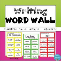 Writing and Vocabulary Word Wall - This word wall is a great resource for any young writer. Motivate your students to use more specific and engaging vocabulary in their writing. This product includes 8 synonym/word wall cards for the following words:Adjectives:    ugly    pretty    interesting    annoying    good    nice    happyVerbs:    said   walked    ranTransition words:    Also    Although    For example    First    In conclusionadverbs:    How did he move?