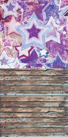 Graffiti Stars With Old Wood Backdrop