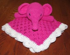 What little tyke wouldn't want to cuddle with this cotton pink elephant lovey blanket! The pattern can easily be adapted to blue, or any color of your choosing! Crochet Elephant Pattern, Crochet Animal Patterns, Crochet Stitches Patterns, Stuffed Animal Patterns, Crochet Animals, Baby Patterns, Crochet Security Blanket, Crochet Lovey, Baby Blanket Crochet