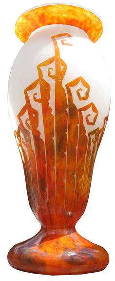 French art deco cameo glass vase was created by Charles Schneider, vase produced 1927.