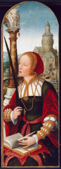 Jean Bellegambe French, c. 1470-1535/36  Saint Barbara, c. 1520  Oil on panel 32 3/8 x 11 1/16 in. (82.3 x 28.2 cm; painted surface: 32 1/8 x 10 3/4 in. (81.7 x 27.3 cm) Inscribed: Et anima mea...et povere.. (on book)