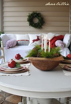Porch decor (The Rest of Our RED Christmas Porch by Dear Lillie