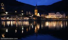 Bernkastel-Kues and Mosel river in Germany during Christmas time