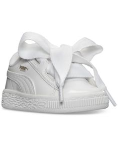 Puma Toddler Girls' Basket Heart Patent Casual Sneakers from Finish Line - White