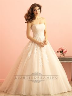 Strapless+Ruched+Bodice+Lace+Appliques+Princess+Ball+Gown+Wedding+Dress