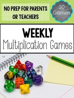 Get your students to ask for MORE multiplication practice! Get 30 weeks worth of multiplication games that are PERFECT for homework and would make a great center or station activity. All of the games are no prep, and the only materials needed are common household items.