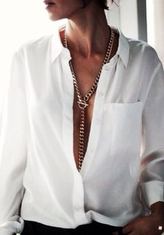 { White button down x long necklace }