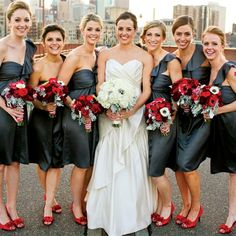 Red and gray is nice. Also, I love the white and white for the bride but the flowers blend into her dress