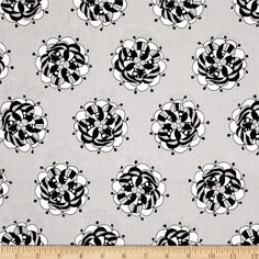 Licorice Fizz Retro Flowers Grey from @fabricdotcom  This cotton print is perfect for quilting, apparel and home decor accents.  Colors include grey, white and black.